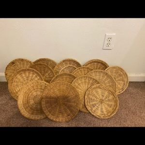VINTAGE: Set of 11 Rattan Wall Baskets